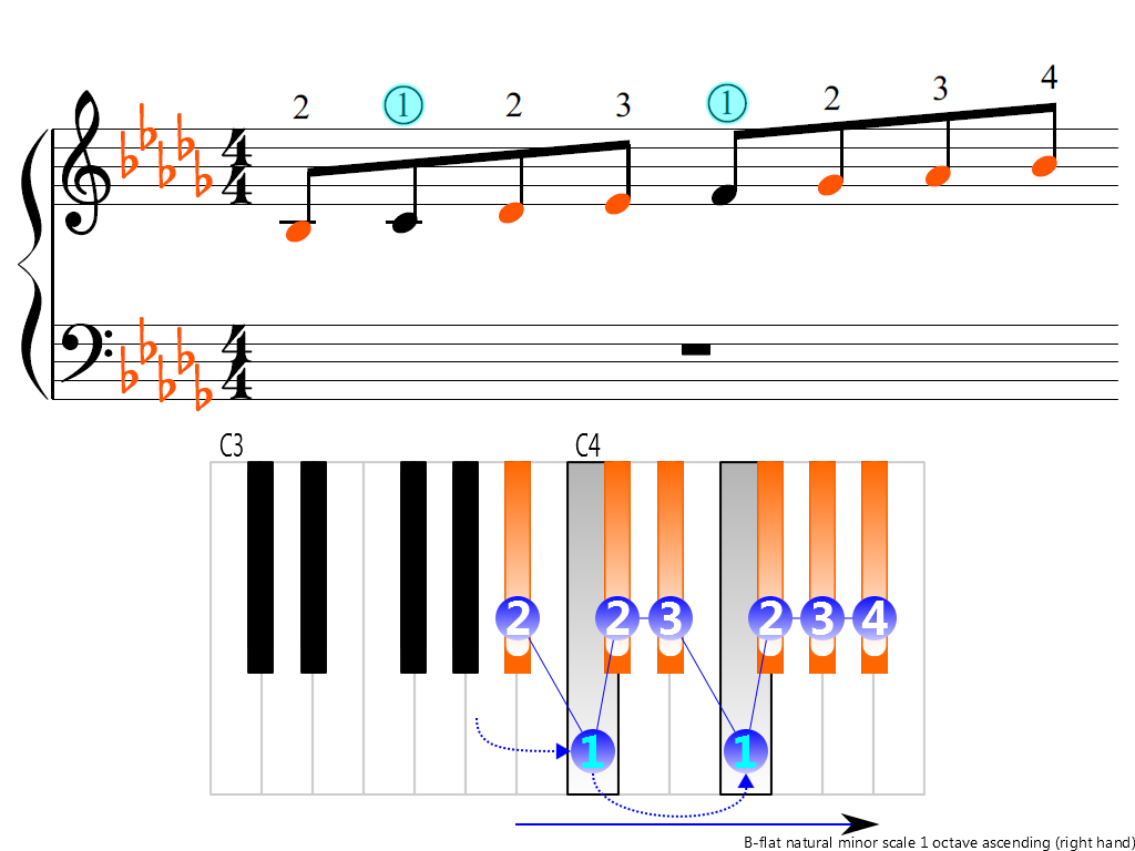 Figure 3. Ascending of the B-flat natural minor scale 1 octave (right hand)